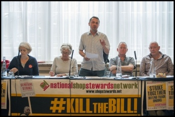 NSSN chairperson Rob Williams addressing the 13th September 2015 NSSN rally, photo Paul Mattsson