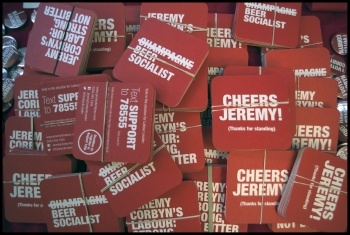 Corbyn campaign material, Sept 2015, photo by Paul Mattsson