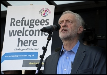 Jeremy Corbyn at the London 'refugees welcome' demo, 12.9.15, photo by Paul Mattsson
