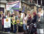 Protesting against school crossing cuts by Derbyshire County Council, photo E Evans
