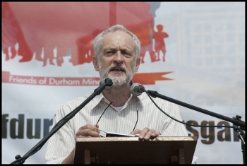 Jeremy Corbyn speaking at the Durham miners' gala, 2015, photo by Paul Mattsson
