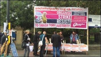 Socialist Party banner, TUC demo, Manchester, 4.10.15, photo by Sarah Sachs-Eldridge