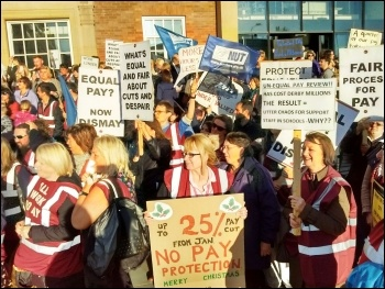 Protest of school support staff outside Derby council house, 7 Oct 2015, photo S Score