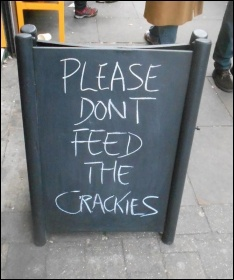 'Please don't feed the crackies' sign outside Brick Lane Coffee, photo Twitter