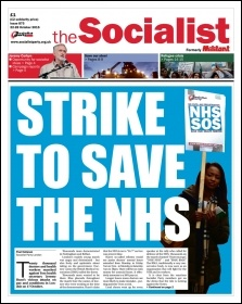 The Socialist issue 872 front page - Strike to save the NHS