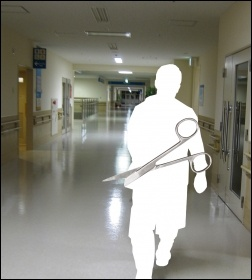 NHS staffing cuts, ward photo Yuya Tamai, scissors photo Wikimedia, both Creative Commons, composite James Ivens