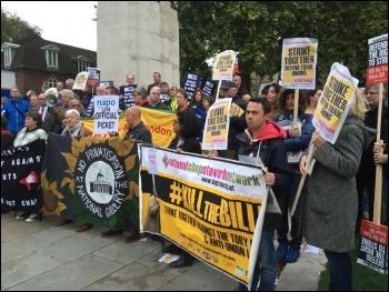 Trade Union Co-ordinating Group (TUCG) rally ahead of parliamentary lobby against trade union bill, 12.10.2015, photo by Paul Callanan