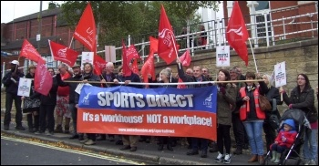 Unite members protest against Sports Direct's illegal sackings, photo by Elaine Evans