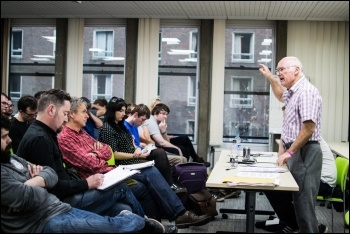 Peter Taaffe introducing a workshop at Socialism 2015, photo by John Dickens