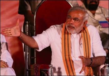 Narendra Modi, leader of the Bharatiya Janata Party (BJP) and prime minister of India, photo by Al Jazeera English (Creative Commons)