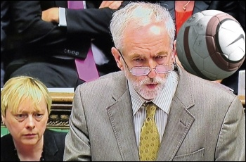 Jeremy Corbyn heading a football during Prime Minister's Questions. Corbyn photo David Holt, ball photo Jarrett Campbell, both Creative Commons, composite James Ivens