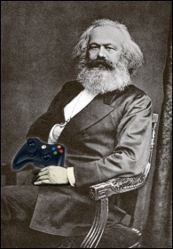 Karl Marx holding an Xbox controller, photos by Wikimedia Commons (Creative Commons), composite by James Ivens