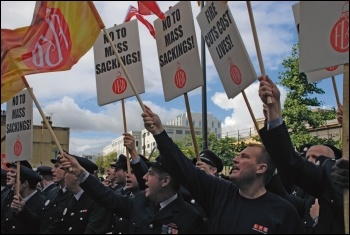 FBU members marching against job cuts, photo Suzanne Beishon