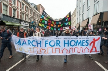 Demonstrators on the London March for Homes, 15.01.2015, photo Paul Mattsson