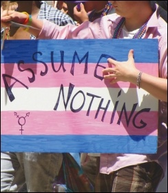 A transgender pride flag on a San Francisco LGBT pride march, photo by Marilyn Roxie (Creative Commons)