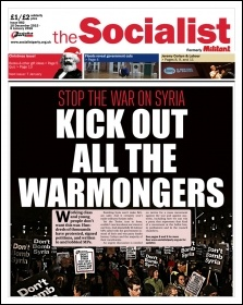 The Socialist issue 882 front page - Kick out all the warmongers