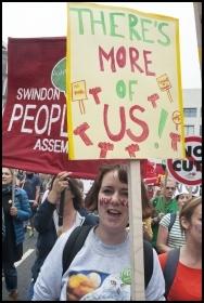 Demonstrating against austerity, photo Paul Mattsson