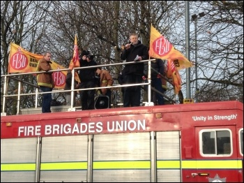 Coventry Socialist Party member and chair of TUSC Dave Nellist speaking to a demonstration against fire service cuts in the West Midlands, December 2015
