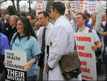 Doctors demonstrating in March 2007, photo Naomi Byron