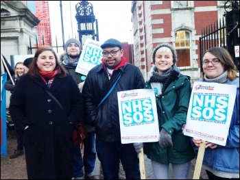 Manchester Socialist Party and Socialist Student members supporting the MRI picket, photo by Manchester SP