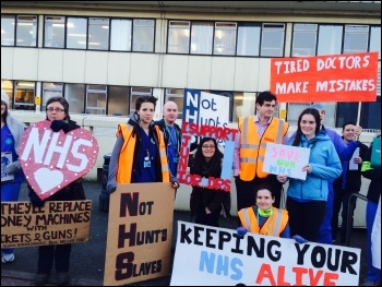 Fighting austerity in the NHS: doctors striking - Poole General hospital, photo Clare Blackwell