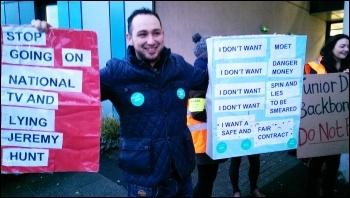 Outside Salford Royal hospital, 12.1.16, photo Becci Heagney