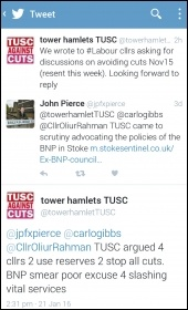 Right-wing Labour councillor smears TUSC, pic Naomi Byron