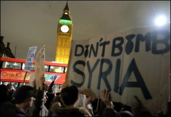 Protesting during Parliament's vote on bombing Syria, 2015, photo Alisdare Hickson (Creative Commons)