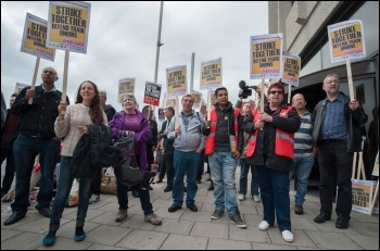 The National Shop Stewards Network's 'Kill the Bill' lobby of the TUC in 2015, photo Paul Mattsson