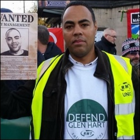 Victimised RMT rep Glen Hart, photo by NSSN