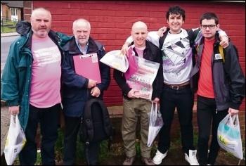 Dean Meehan (far left) campaigning for TUSC, photo by Iain Dalton