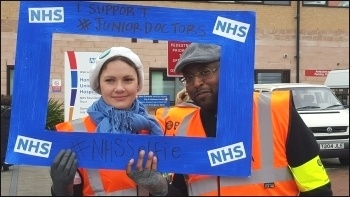 Picketing Homerton hospital, 10.2.16, photo Claire Laker Mansfield