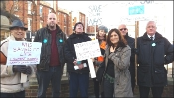 Wormwood Scrubs POA members join BMA picket line at Hammersmith hospital, photo by Matthew Clarke