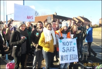 Picket line at Gateshead's Queen Elizabeth Hospital , photo by Elaine Brunskill