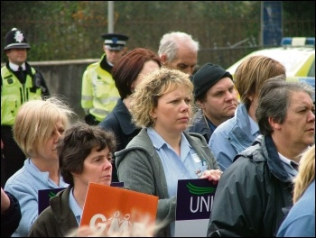 Care workers marching against council cuts in Ammanford, south Wales, photo Socialist Party Wales