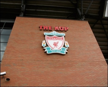 The Kop stand at Anfield stadium, Liverpool, photo by Jay Clark (Creative Commons)