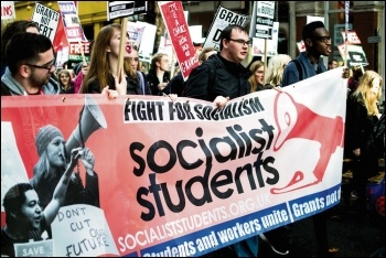 Socialist Students marching for free education, photo Johnny Dickens