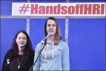 Lianne, Socialist Students, speaking. Huddersfield 27.2.16, photo by Iain Dalton