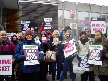 Unison education workers striking with UCU lecturers, 24.2.16, photo Iain Dalton