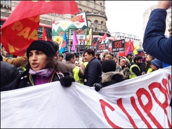 Stop the war on the Kurds, demo assembling in Portland Place, London, 6.3.16, photo Judy Beishon