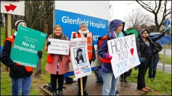 Picketers at Leicester's Glenfield hospital, 9.3.16 , photo by Steve Score