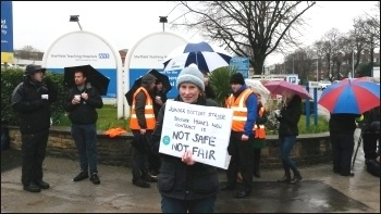 Picket at Northern General Hospital, photo by A Tice