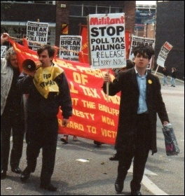 Max Neill leading (left with bullhorn) anti poll tax demo in Preston