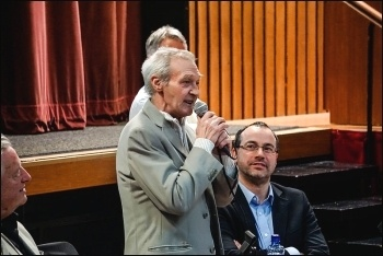 Paddy Hill from the Birmingham Six speaking in Belfast on 23.1.15,  photo by Brian O'Neill