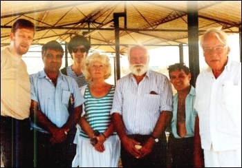 CWI-organised delegation to Israel-Palestine in August 1991. Dave Nellist on the left; Paddy Hill 2nd from right; Ann Whelan, Bridgewater 3 campaign, in the centre