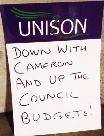 Placard on demo outside Hackney council budget-setting meeting, 2.3.16