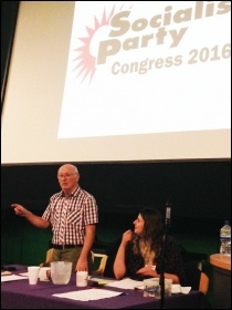 Socialist Party congress 2016, Peter Taaffe speaking, photo by Sarah Wrack