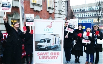 Greenwich save libraries lobby, March 2016, photo by Kaz