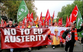 International trade unionists marching against EU austerity, photo Paul Mattsson