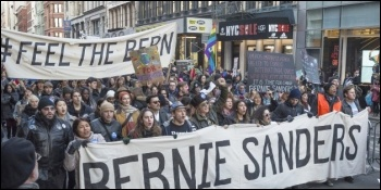 Marching for Bernie Sanders
